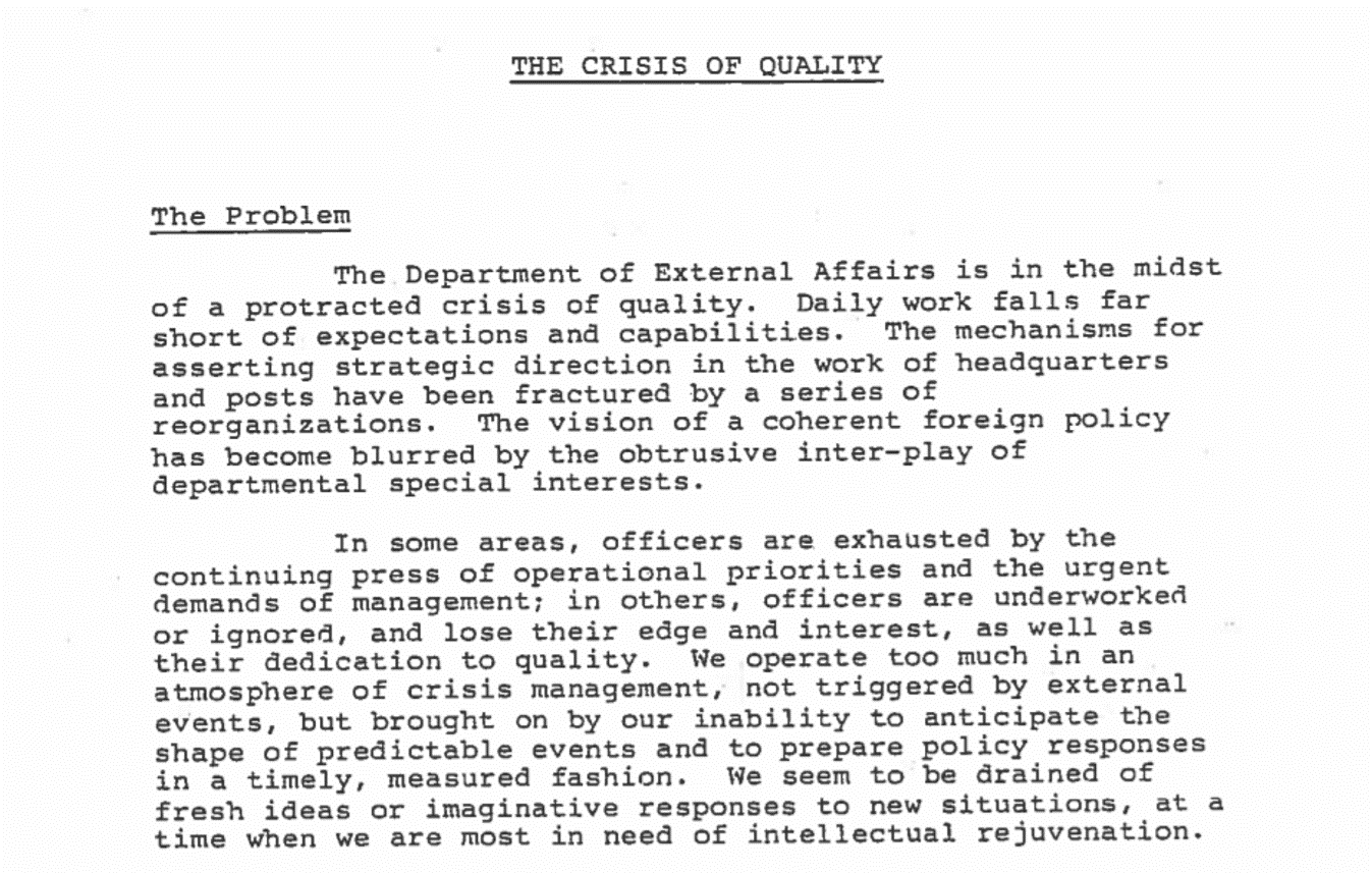 "1983 GAC Document Still Relevant Today: ""The Crisis of Quality"" Revisited"
